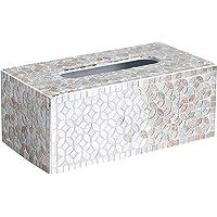Whole Housewares Decorative Mosaic Tissue Holder 10X5X4 Inch Rectangular MDF Tissue Box Cover (Gold/Silver)
