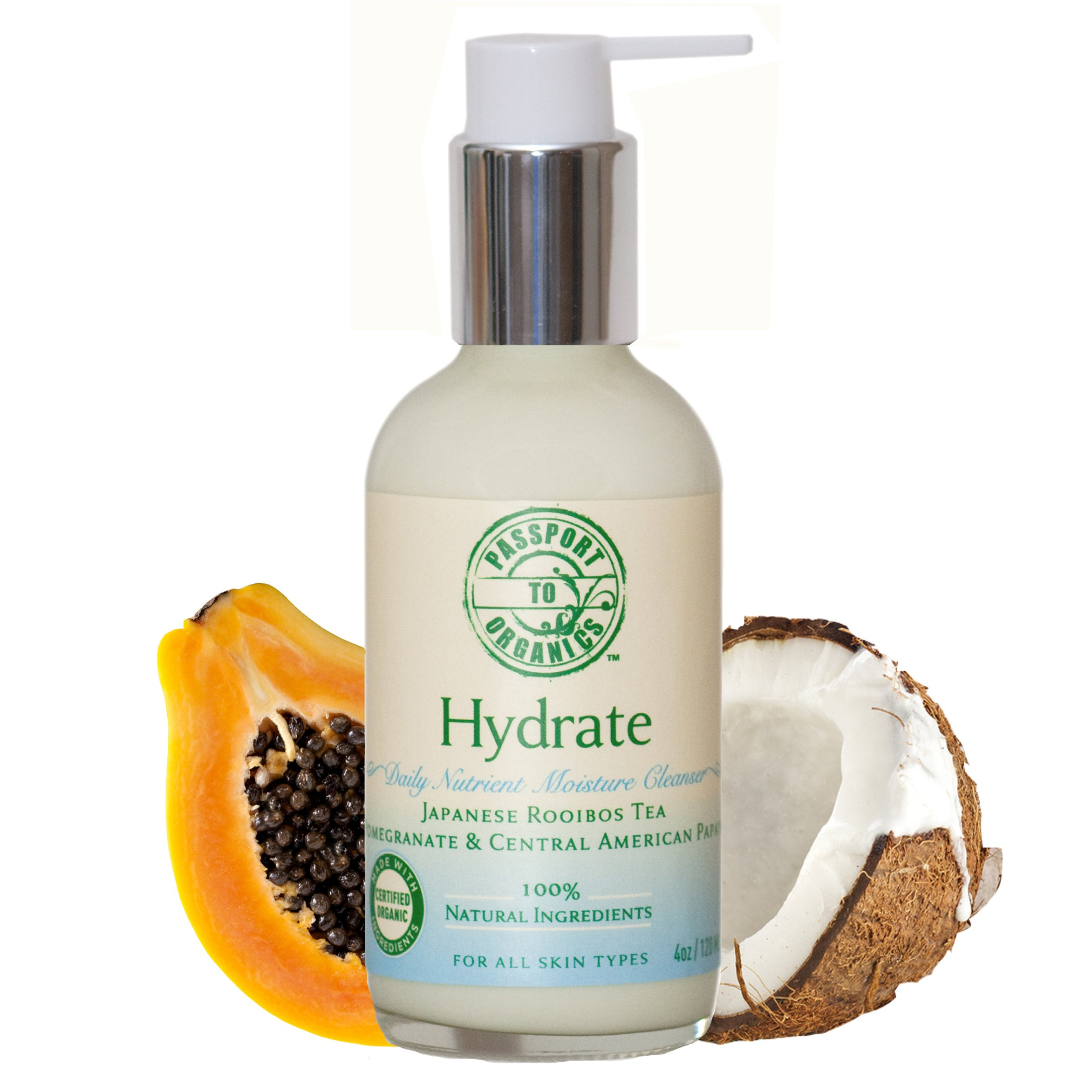 Organic Hydrate Daily Nutrient Moisture Cleanser with Japanese Rooibos Tea, Pomegranate & Papaya
