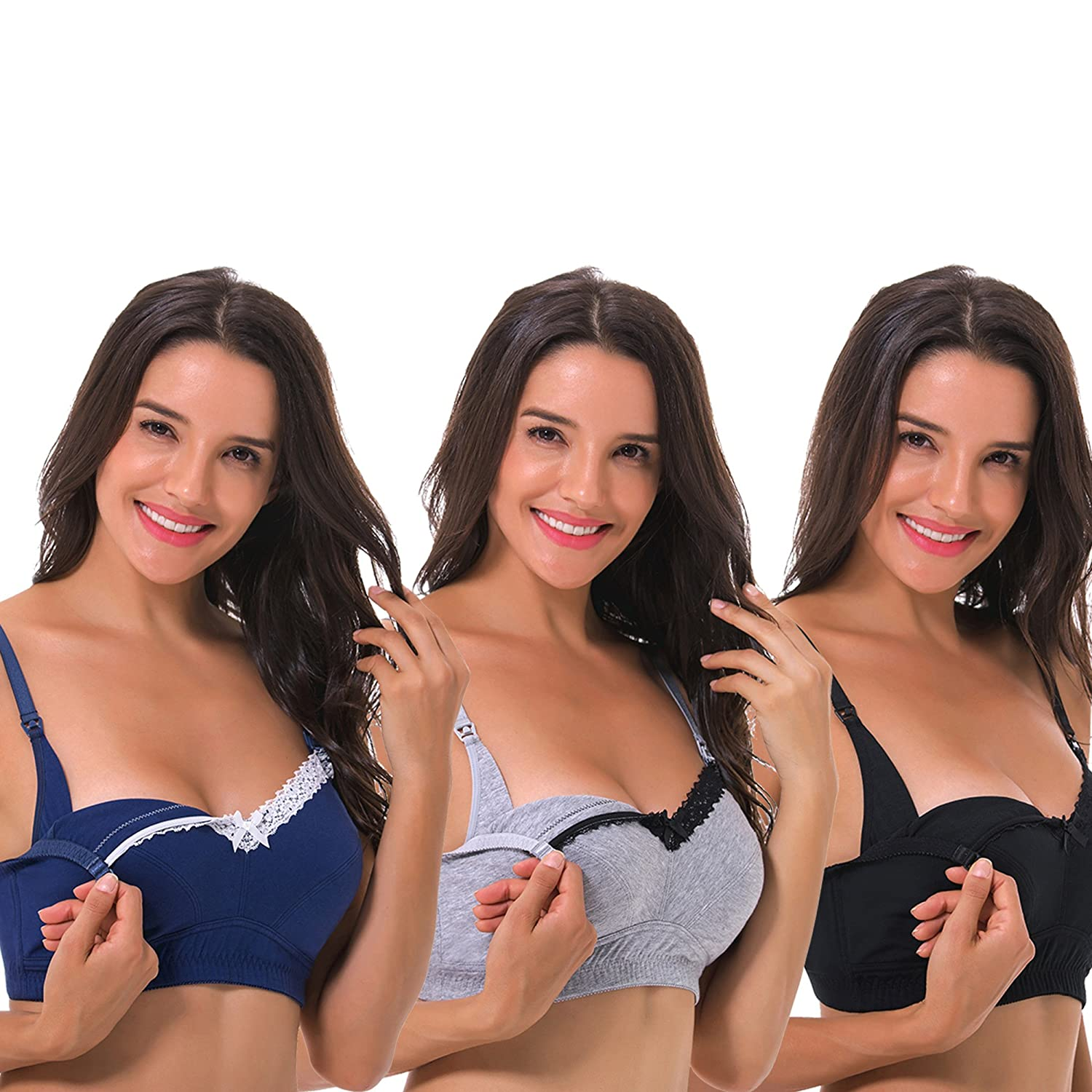 Curve Muse Women's Nursing Plus Size Wirefree Cotton Bra with Upper Lace-3Pack BPMC70803