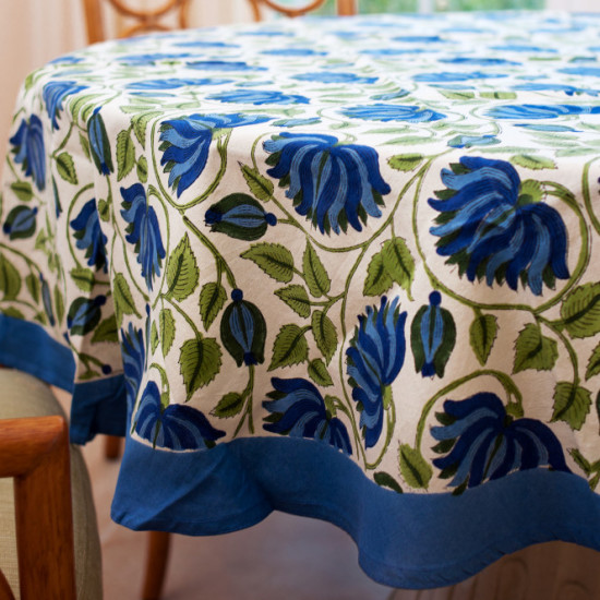 "Block Print Cotton Tablecloth 70"" Round - Fair Trade Winds"