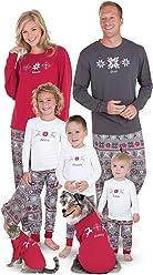 PajamaGram Holiday Nordic Matching Family Pajamas, Red/Gray