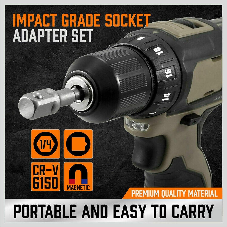 Topuality 6Pcs 6 /& 3 Impact Grade Socket Adapter Set 1//4 3//8 1//2 Drive 1//4 Hex Shank