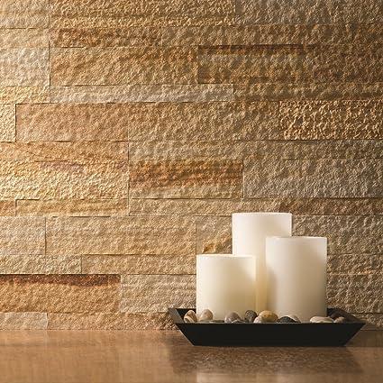 Aspect Peel And Stick Stone Overlay Kitchen Backsplash   Golden Sandstone  (5.9u0026quot; X 23.6u0026quot