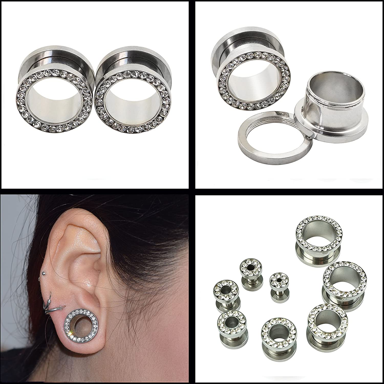 D/&M Jewelry 8pcs 8G-9//16 Stainless Steel Screwed Ear Tunnels /& Single Row Gem Tunnels Piercing Qianmin Co.Ltd SCRRGWBSET05