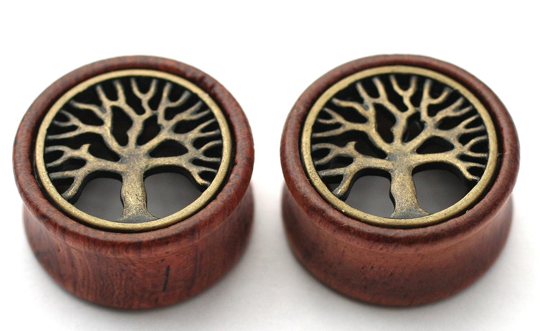 Pair of Wood Ear Plugs Tree of Life Gauges 1/2 9/16 5/8 12mm 14mm 16mm 18mm 20mm 22mm 24mm 26mm 28mm 30mm (9/16 14mm)