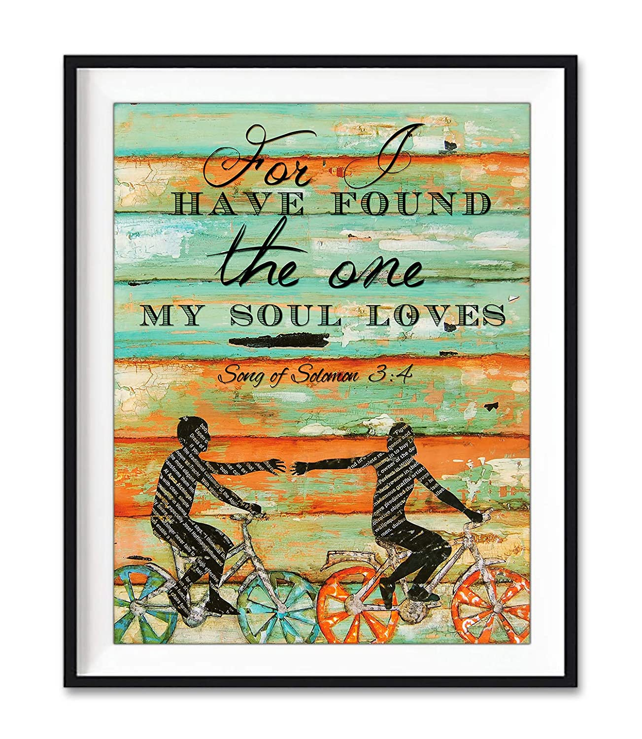 For I Have Found the One My Soul Loves, Danny Phillips Unframed Art Print, Songs of Solomon 3:4, Biking Bicycle Cycling Wall Decor Poster Wedding Engagement Anniversary Gift for Her, 8x10 inches
