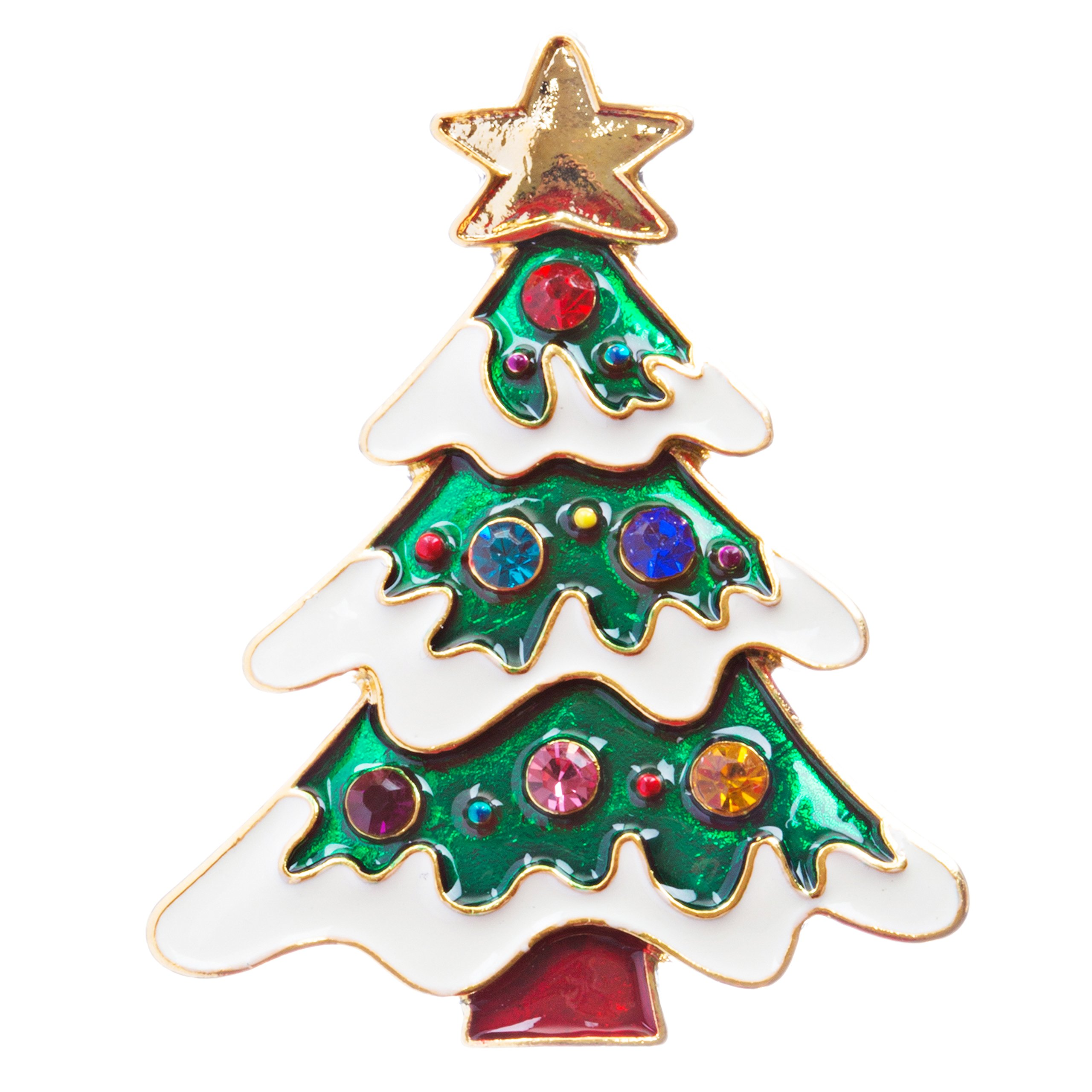 ACCESSORIESFOREVER Christmas Jewelry Crystal Rhinestone Holiday Charming Tree Brooch Pin BH138 MT