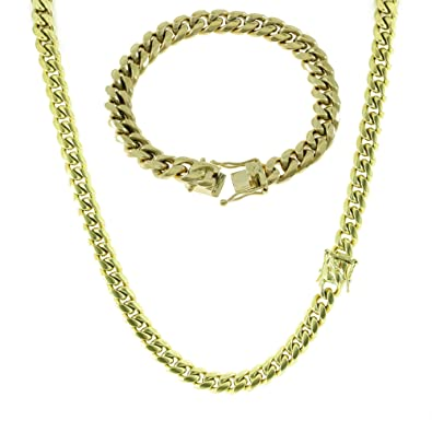 b1dc34476d353 HarlemBling 10mm Gold Miami Cuban Link Chain with 8.5