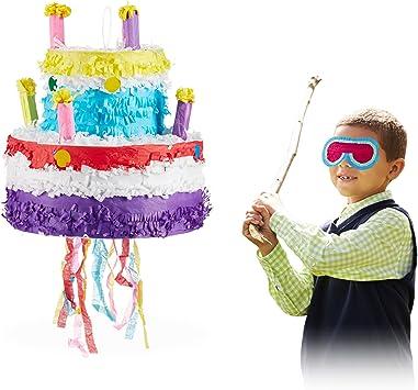 Phenomenal Amazon Com Relaxdays 10025184 Birthday Cake Pinata Hanging Funny Birthday Cards Online Elaedamsfinfo