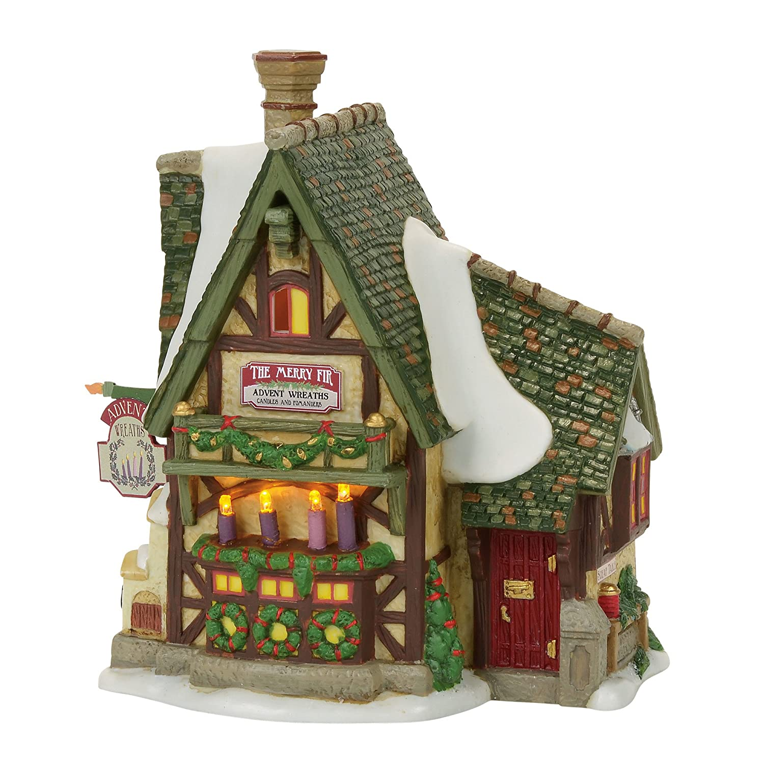 Department 56 Dickens Merry Fir Advent Wreaths Village Lit Building, Multicolor 4056636