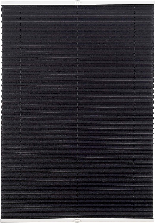 Estor plisado con fijación sin agujeros, persiana plisada con soportes de sujeción, estor plegable para ventanas y puertas, Negro , 50 x 130 cm
