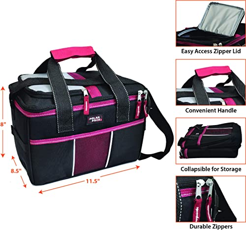 POLAR PACK 18 Can Double Handle Square Box Collapsible Cooler Bag Soft Portable Insulated Picnic Bag Outdoor Indoor Travel Lunch Bag for Camping, School, Travel Sports Black RED