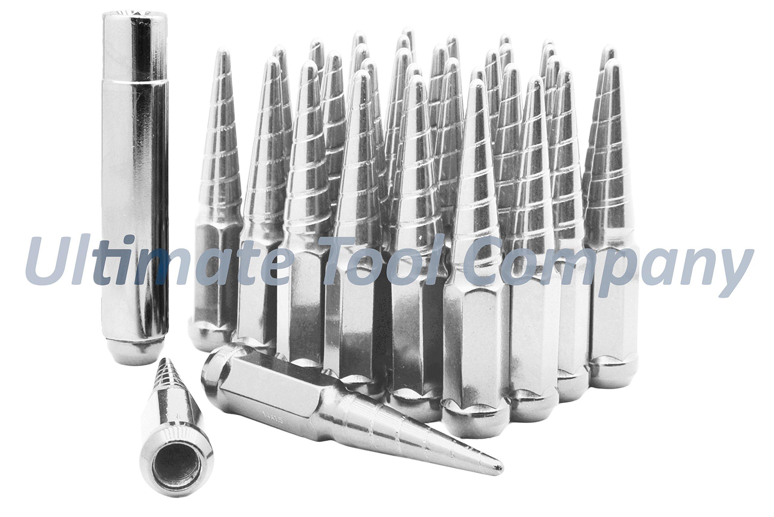 UTC 32x M14x1.5 Chrome Twisted 4.5'' Solid Steel Spike Lug Nut Set w/Socket Key for Secure Removal