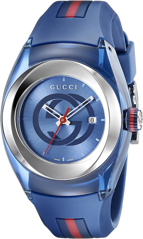 Gucci YA137304 - Reloj de Cuarzo Unisex, con Correa de Goma, Color Azul