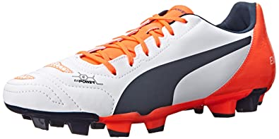 PUMA Men's Evopower 4.2 Firm Ground Soccer Shoe, White/Total Eclipse/Lava  Blast
