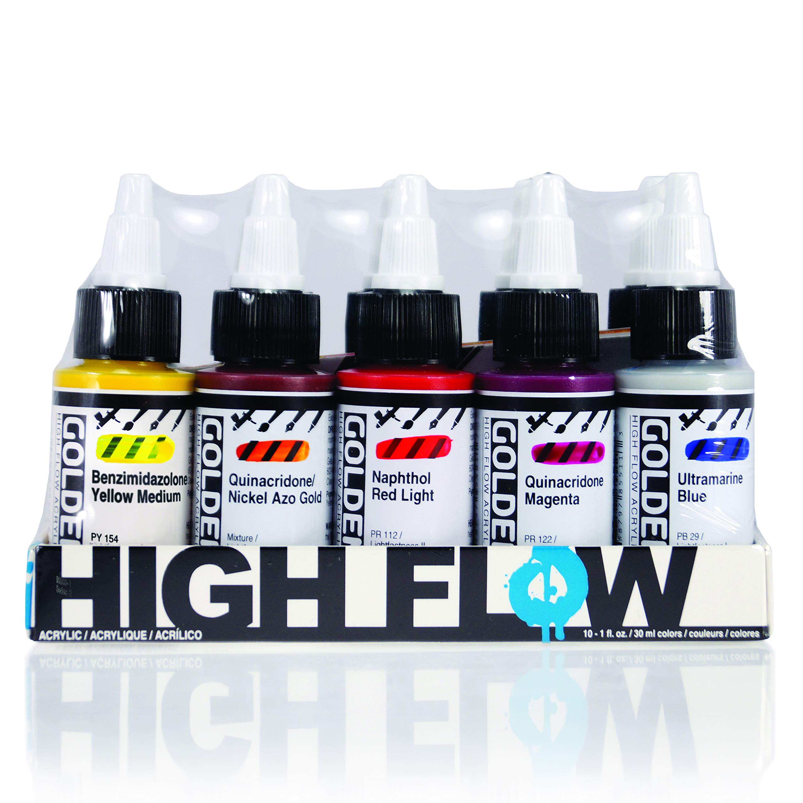 Golden High Flow Acrylic, Assorted 10 Color Set, Burnt Sienna, Carbon Black, Quinacridone Magenta, Hansa Yellow Med, Quin/Nickel Azo Gold, Naphthol Red Light, Phthalo Blue, Phthalo Green, Ultra Blue & Titanium White.,  by Golden