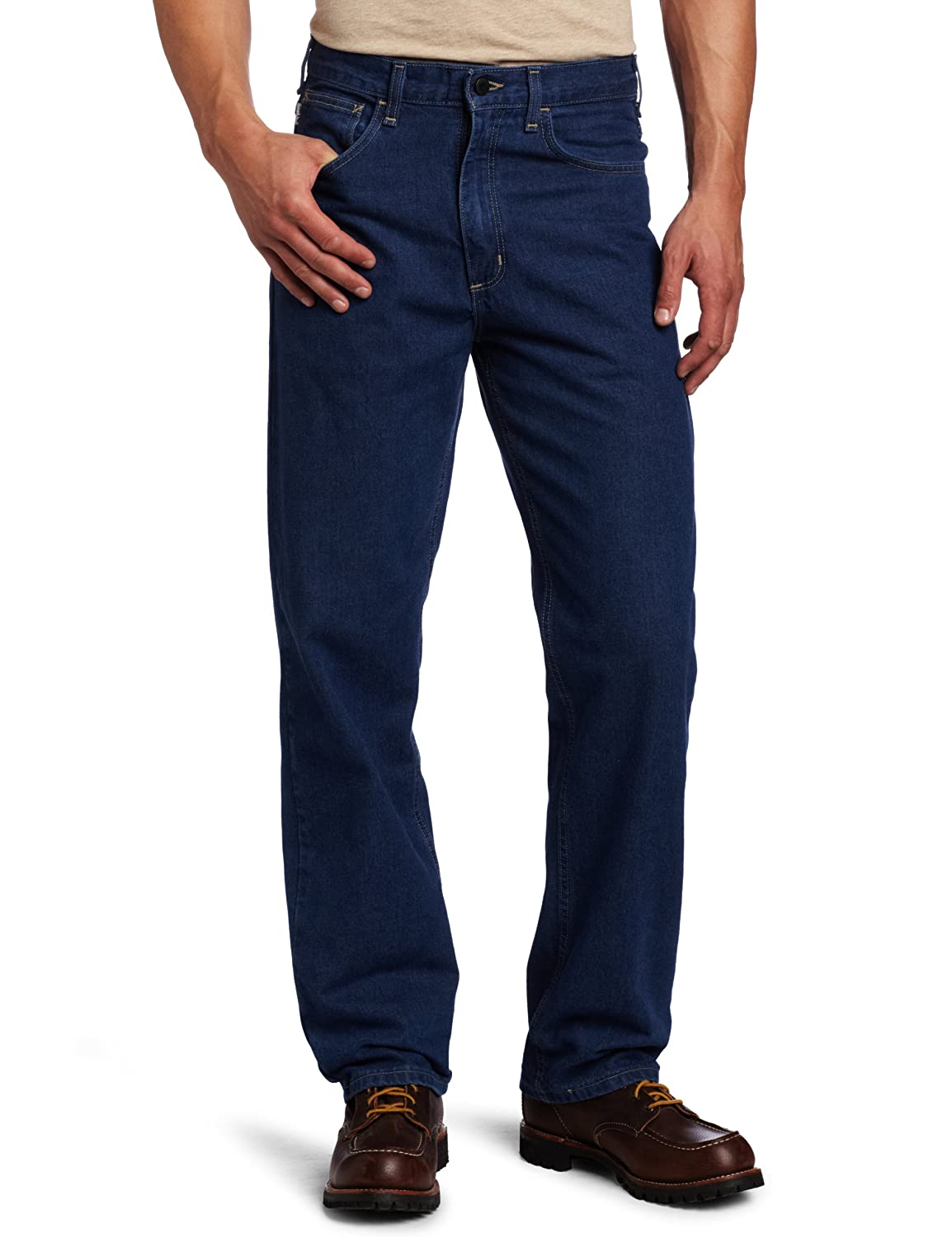 Carhartt Mens Flame Resistant Signature Denim Jean Relaxed Fit Carhartt Sportswear - Mens FRB100-DNM