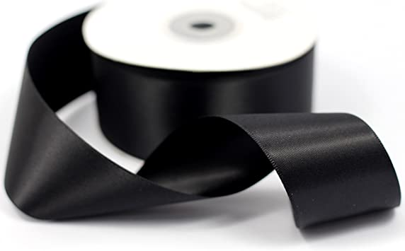 "Ribbon double sided satin 1.5/"" Black wide priced for each 3 yards continuous"