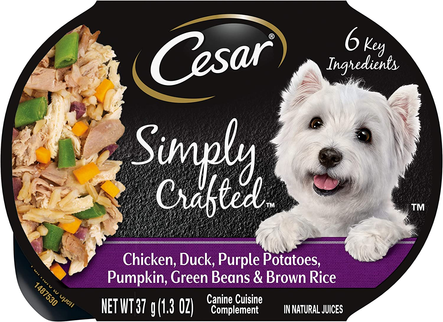 CESAR Simply Crafted Adult Soft Wet Dog Food Meal Topper, Chicken, Duck, Purple Potatoes, Pumpkin, Green Beans & Brown Rice, (10) 1.3 oz. Tubs