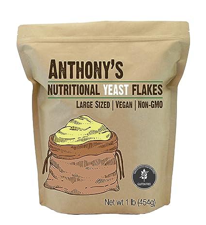 Anthonys Premium Nutritional Yeast Flakes, 1lb, Fortified, Gluten Free, Non GMO, Vegan