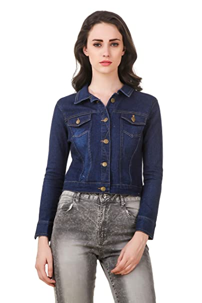 ae37002ead9 Clo Clu Trendy   Stylish Full Sleeve Comfort Fit Collar Blue Denim Jacket  for Girls