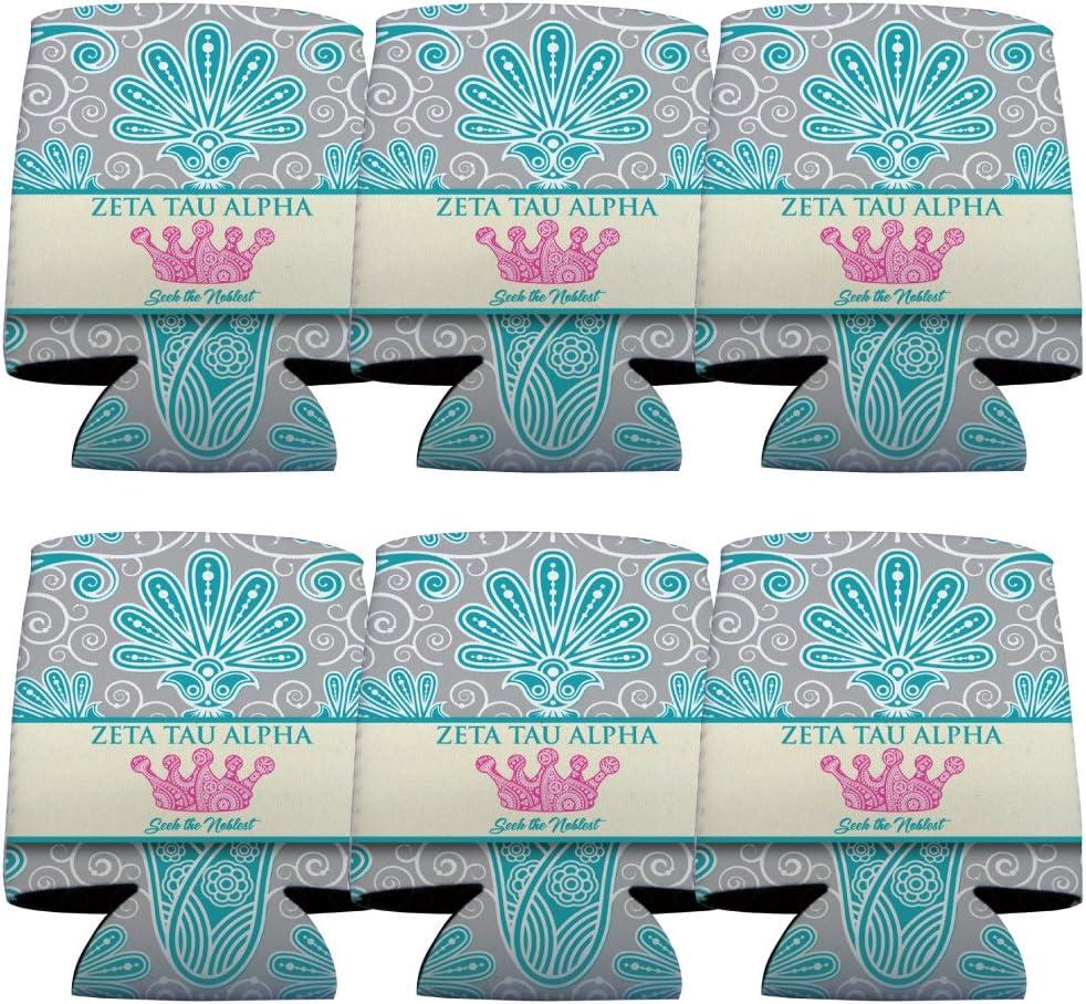 VictoryStore Can and Beverage Coolers - Zeta Tau Alpha, Vintage Flowers Design, Set of 6