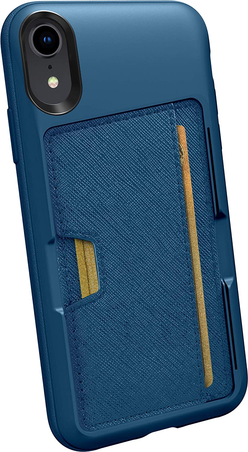 Smartish iPhone XR Wallet Case - Wallet Slayer Vol. 2 [Slim Protective Kickstand] Credit Card Holder for Apple iPhone 10R (Silk) - Blues on The Green