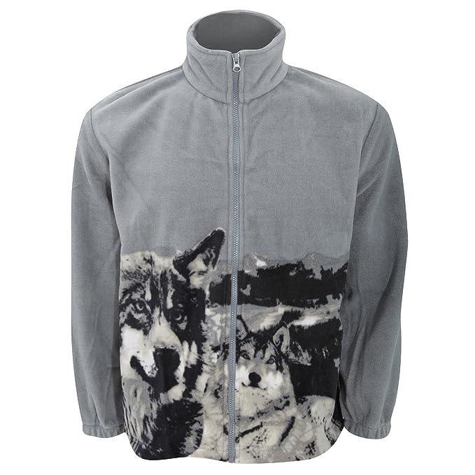 Chaqueta polar con diseño animal Husky gris para mujer (Mediana (M)/Gris