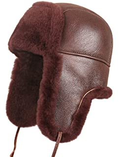 a78cd9fd3cda Zavelio Unisex Shearling Sheepskin Leather Aviator Russian Ushanka Trapper  Winter Fur Hat