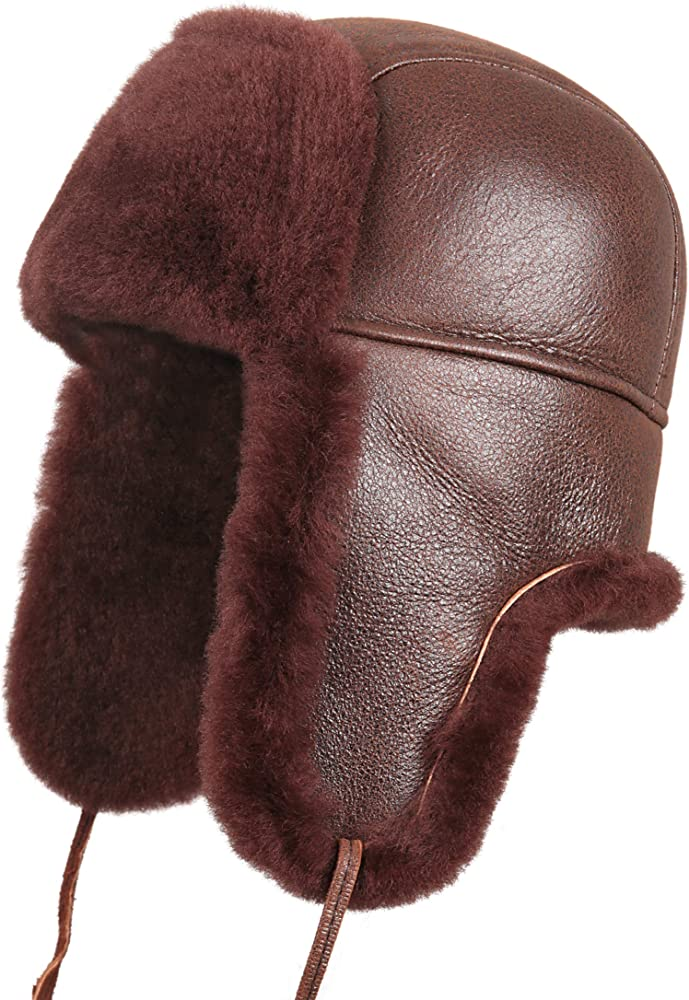 4039e0209 Unisex Shearling Sheepskin Leather Aviator Russian Ushanka Trapper Winter  Fur Hat
