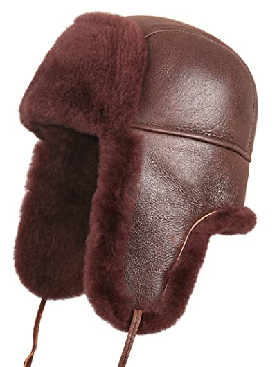 461199a541a10 Zavelio Shearling Sheepskin Leather Aviator Russian Ushanka Trapper Winter  Fur Hat