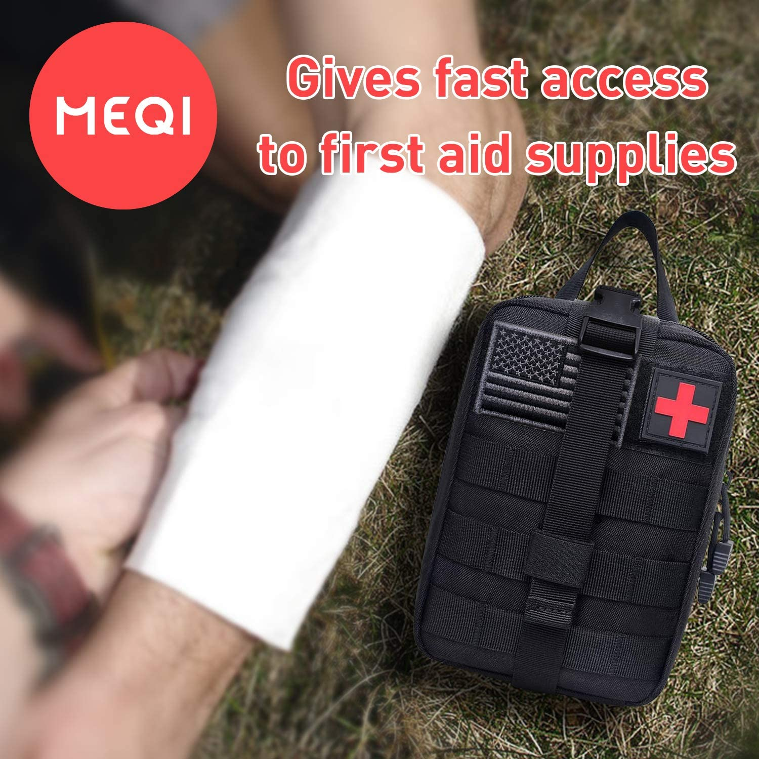MEQI Medical MOLLE Tactical Pouch, EMT First Aid IFAK Rip-Away Utility Pouch for Camping Hunting Hiking Home Car and Adventures : Sports & Outdoors