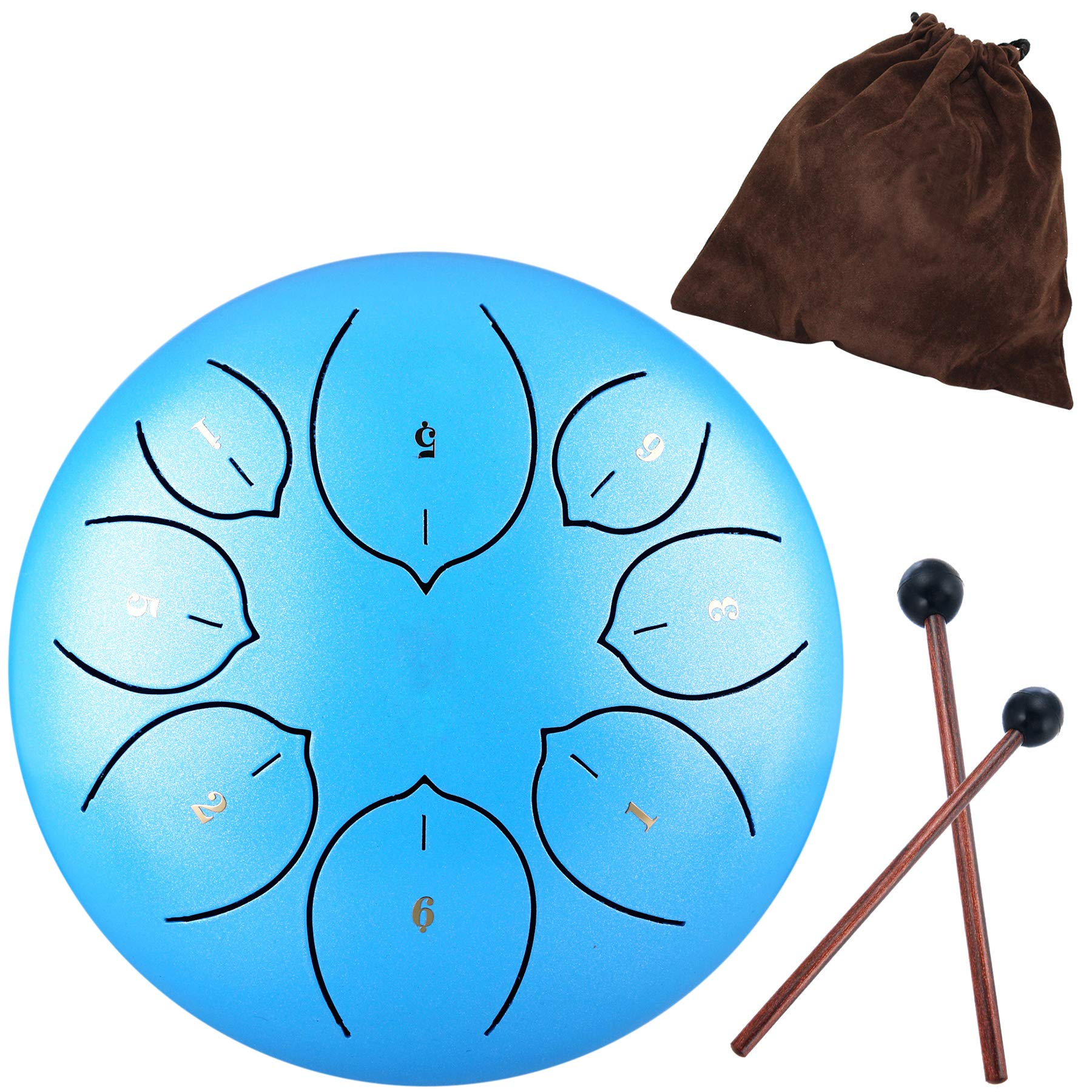 Lotus Handpan Tongue Drum 8 Notes 6 Inches Chakra Tank Drum Steel Percussion Hang Drum Instrument with Padded Travel Bag and Mallets Blue by Antetok