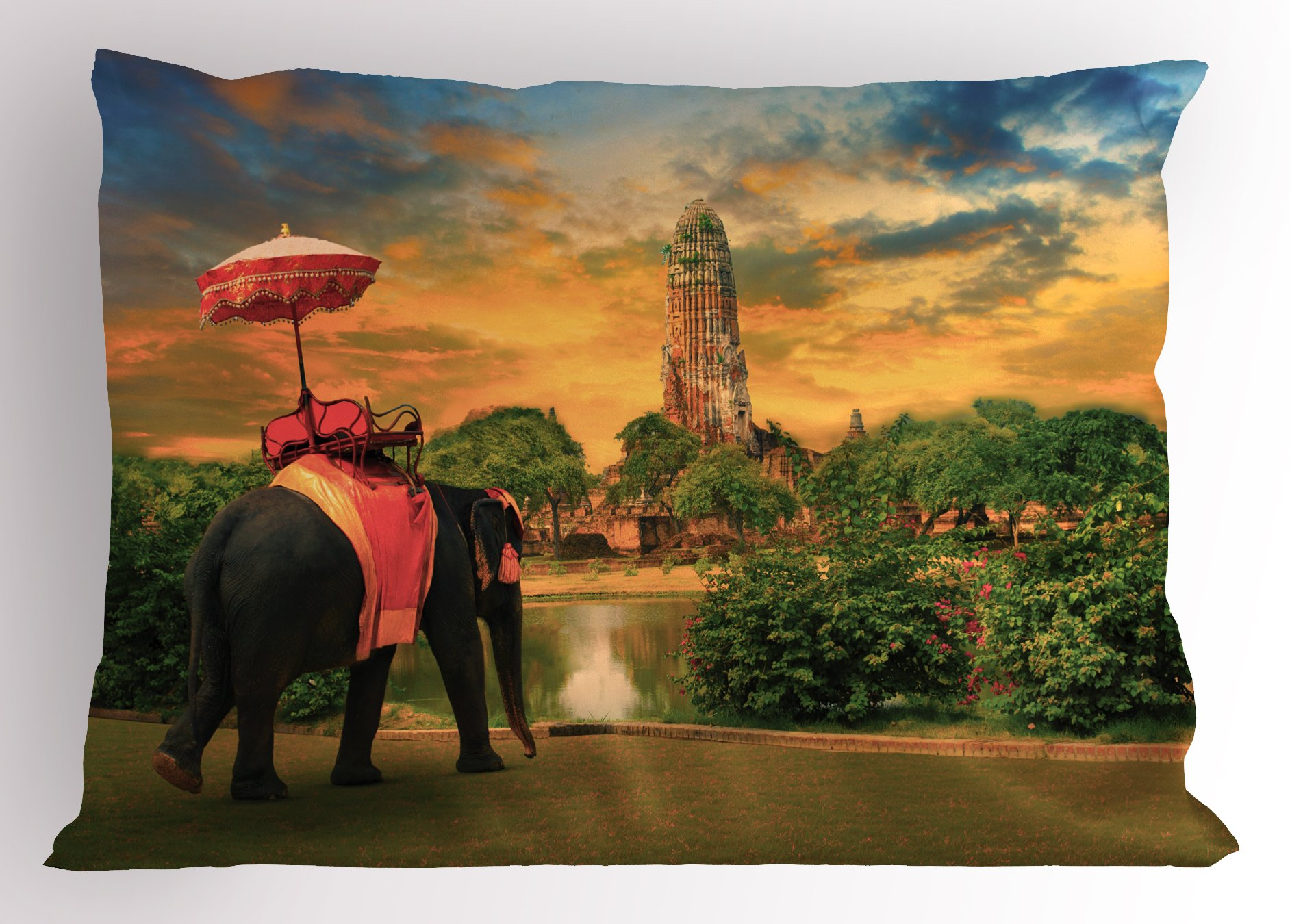Ambesonne Elephant Pillow Sham, Elephant Dressing with Thai Kingdom Tradition Accessories Pagoda in Ayuthaya, Decorative Standard King Size Printed Pillowcase, 36 X 20 Inches, Green Marigold by Ambesonne