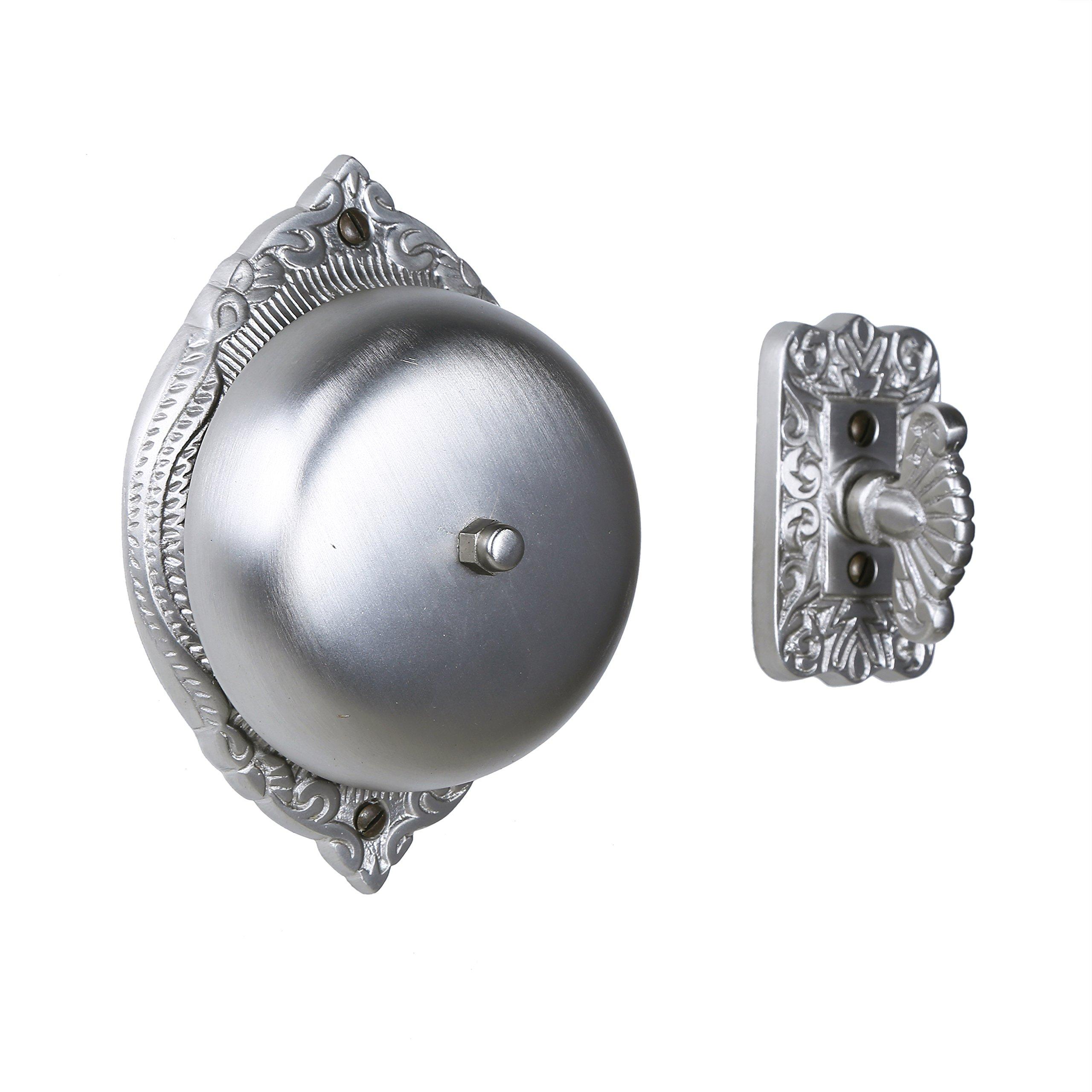 Twist Hand-Turn Solid Brass Wireless Mechanical Doorbell Chime in Satin Nickel Finish, Vintage Antique Victorian Decorative Door Bell with Easy Installation