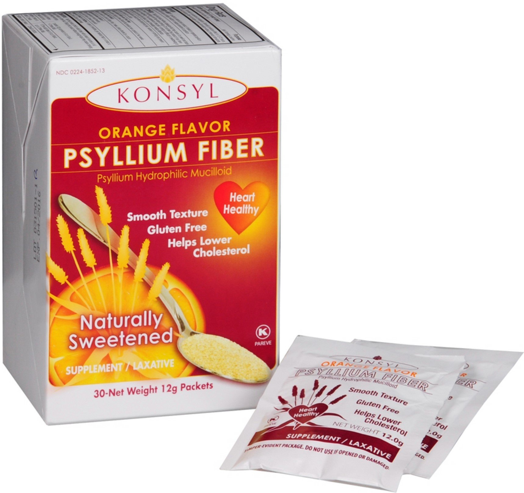 Konsyl Orange Flavor Psyllium Fiber Powder Packets, 30 each (Pack of 3) by Konsyl