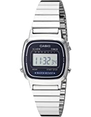 Casio LA670WA-2 Silver with Dark Blue Face Small Stainless Steel Classic Women's Digital Watch