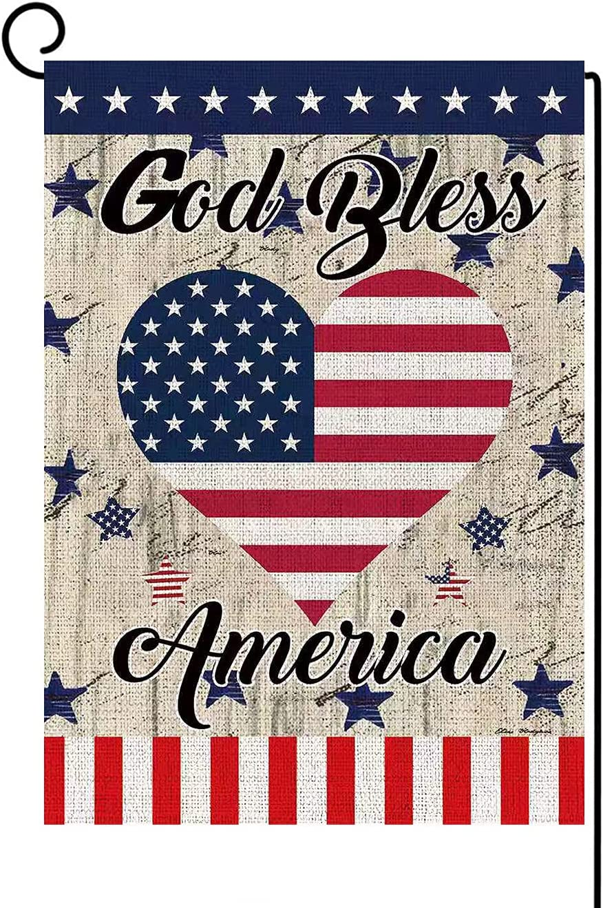 Bravilan God Bless America 4th of July Garden Flag Vertical Double Sided Strip and Star Heart Burlap Garden Flag, Independence Day Memorial Day Patriotic Yard Outdoor Home Decoration 12.5 x 18 Inch