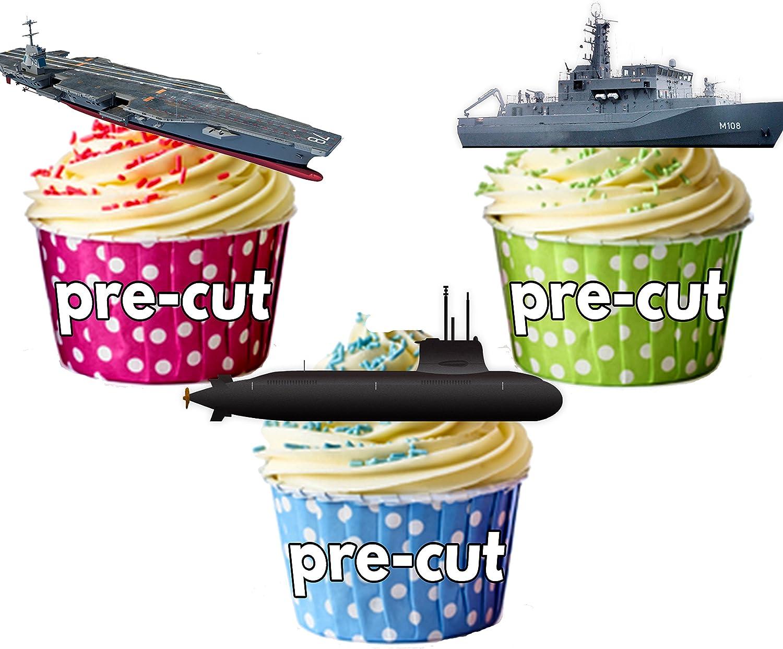 12 x marina de la nave de mezcla de oblea comestible de primeros de la torta soporte UPS