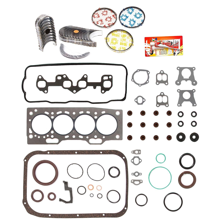 Domestic Gaskets Engine Rering Kit FSBRR2002EVE\0\0\0 87-94 Toyota Tercel SOHC 3E 3EE Full Gasket Set, Standard Size Main Rod Bearings, Standard Size Piston Rings