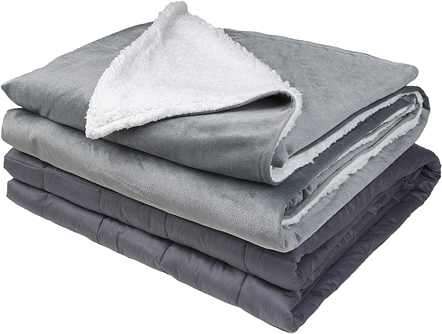 """Weighted Idea Weighted Blanket 15 Pounds with Sherpa & Minky Removable Cover 60"""" x 80 """" Queen Size with Premium Glass Beads"""