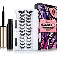Magnetic Eyelashes and Eyeliner Kit,Magnetic Eyelashes Kit,12 Pairs Upgraded 3D Reusable False Lashes with 2 Waterproof…