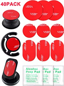 40 Pieces Sticky Adhesive Replacement Double Sided Adhesive Pads Round Sticker Pads for Car Magnetic Phone Holder