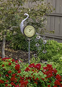 Poolmaster 54581 Outdoor Thermometer Garden Stake, Peacock, Multi