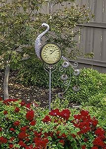 Poolmaster 54581 Outdoor Thermometer Garden Stake, Peacock, Multi