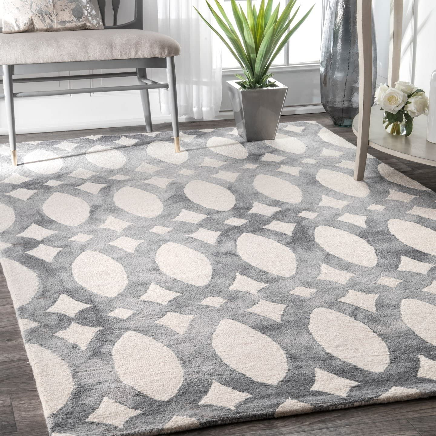 nuLOOM Nellie Hand Looped Wool Rug, 8 6 x 11 6 , Grey