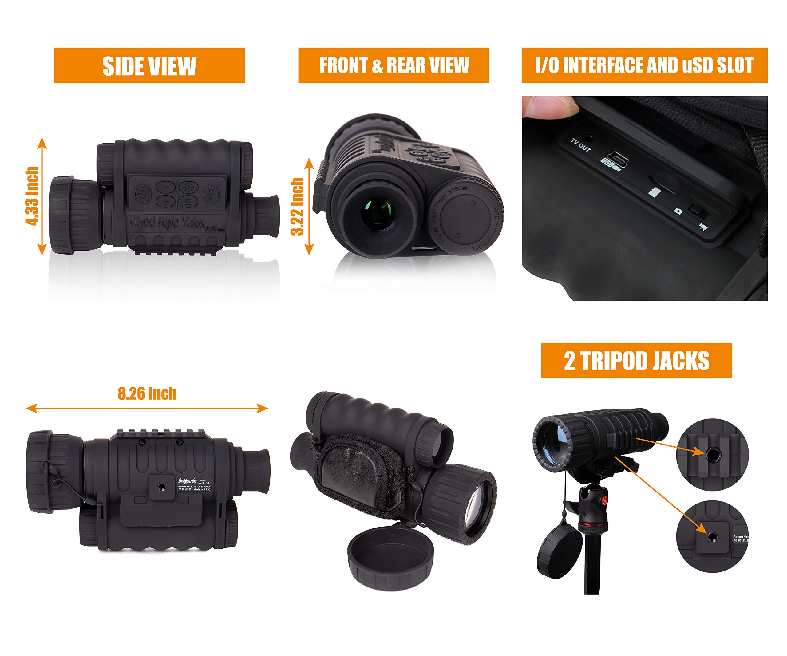 Summit Tools HD Digital Night Vision Monocular up to 1150 FT Range, 1.5-inch Display with Camera&Camcorder Function, 6X Magnification and 50 mm Objective Lens, Takes 5MP Photo & HD Video by Summit Tools (Image #3)