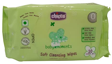 Chicco Baby Moments Soft Cleansing Wipes, 20 Pieces Pack Wet Wipes