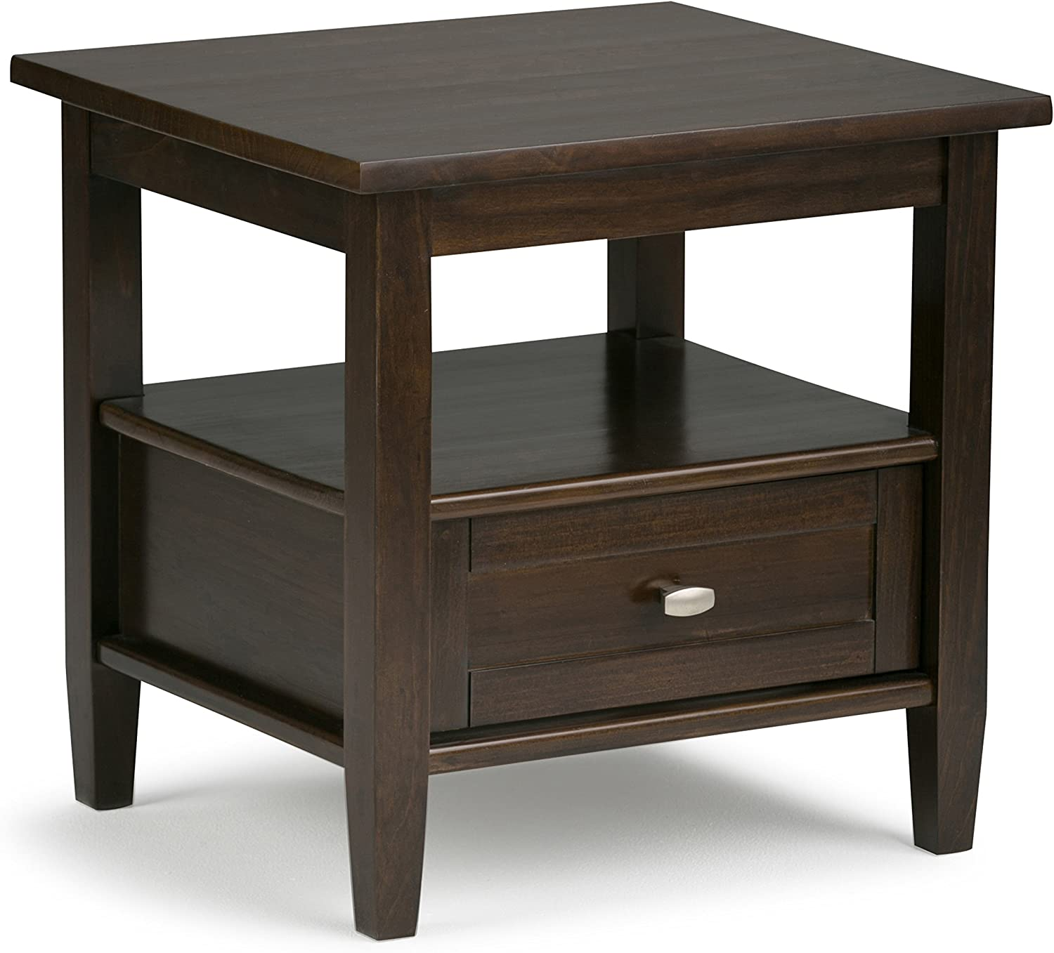 Simpli Home Warm Shaker SOLID WOOD 20 inch wide Rectangle Rustic Contemporary End Side Table in Tobacco Brown with Storage, 1 Drawer and 1 Shelf, for the Living Room and Bedroom: Kitchen & Dining