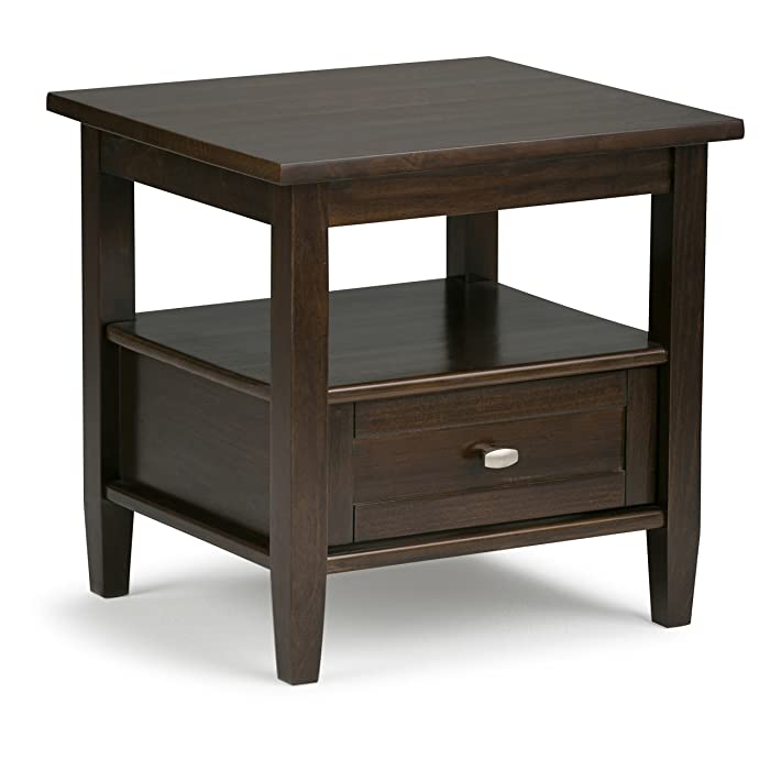 Simpli Home AXWSH002-TB Warm Shaker Solid Wood End Side Table in Tobacco Brown